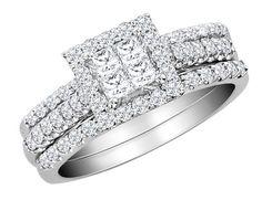 Princess Cut Diamond Engagement Ring & Wedding Band Three Piece Set Set 1.0 Carat in 10K White Gold