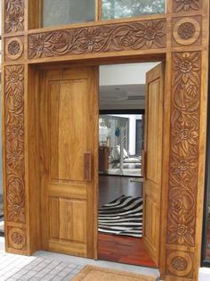 Doors, Frames & Architraves, hand carved and designed by Africarve using a top quality indigenous African hardwood Front Door Design Wood, Double Door Design, Wooden Door Design, Wooden Doors, Wood Art Panels, Double Front Doors, Duplex House Design, Arched Doors, Architrave