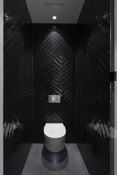 Bathroom Layout Plans, Bathroom Goals, Small Toilet Room, Small Bathroom, Bathroom Design Luxury, Home Interior Design, Black Powder Room, Powder Room Decor, Modern Toilet