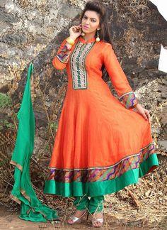 Zesty Orange Chanderi Anarkali Suit