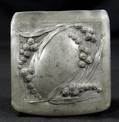 French Repousse pewter Lily of the Valley jewelry box