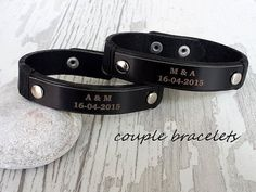 Couples Bracelets Set His Hers Personalized Leather by tovvanda