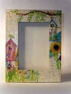 - Best ideas for decoration and makeup - Cute Frames, Picture Frames, Diy Arts And Crafts, Diy Crafts, Rajasthani Art, Flower Shadow Box, Decoupage Glass, Decorated Wine Glasses, Frame Crafts