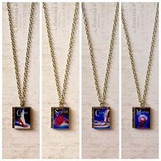 The Lunar Chronicles Cinder/Scarlet/Cress/Winter Book Necklace/Literary Necklace/Book Locket Necklace/Bookmark/Bag Charm/Bracelet
