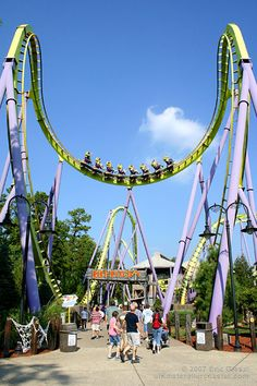 Bizarro  --Jacson, NJ  A giant Cobra Roll inversion over the ride's entrance lures Six Flags Great Adventure guests to Medusa, the world's first floorless roller coaster.
