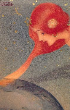 Woman with red hair, art by Raphael Kirchner