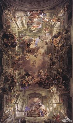 The Apotheosis of St. Ignatius in Rome, Italy was completed between 1691-94 by Andrea Pozzo, a master of Baroque-style ceiling art and tricking the eye to see three-dimensional forms.  http://www.wga.hu/frames-e.html?/html/p/pozzo/index.html