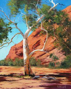 "Graham Gercken ~ ""Outback Ghost Gum"" ~ Oil on Canvas Landscape Illustration, Watercolor Landscape, Abstract Landscape, Watercolor Art, Small Canvas Paintings, Seascape Paintings, Landscape Paintings, Oil Paintings, Australian Painting"