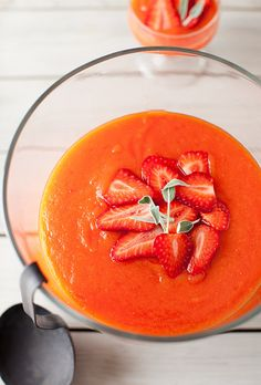 papaya lime soup with strawberries