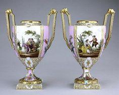 Dresden Porcelain (Germany) — Pair Vases, 19th Century, (640x511)