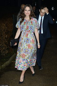 keira in chanel floral dress.. looks absolutely chic and lovely
