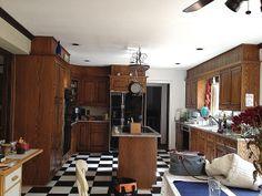 Janssen- Before. Dark Oak cabinets. #GreenKitchensUSA