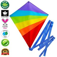 Kite Large Flying Kites Kit for Kids with String Handle (NEW Edition) - Fly Big Easy Diamond Rainbow High Flyer - FREE Extra Gift (Ebook) - Best Gift: Beach Summer Runner Toy for Children Travel Size * Click on the image for additional details.