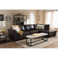 Latitude Run Serpens Sectional Upholstery: Brown, Orientation: Right Hand Facing