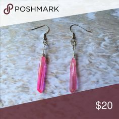 Rose Aura Quartz Earrings These are handmade earrings wirewrapped by myself. Jewelry Earrings