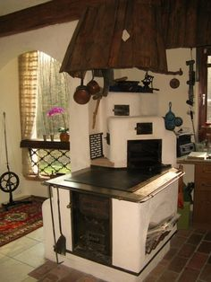 Kitchen Stove, Old Kitchen, Rustic Outdoor Spaces, Stair Shelves, Build Your House, Orange Kitchen, Outdoor Oven, Cooking Stove, Rustic Kitchen Design
