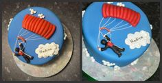 Detailed parachute on the skydiving cake. from Krazy Kakes