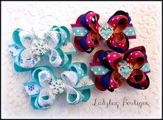 Frozen Snowflake Sisters Mini Boutique Hair Bow by LadybugBowtique (Accessories, Hair Accessories, Barrettes & Clips, hair bow clip, ladybug bowtique, boutique m2m, hairbow ponytail, pigtail alligator, pinch grip, no non slip, petite loopy, twisted ribbon, grosgrain, mini small, Anna Heart, Elsa Snowflake)
