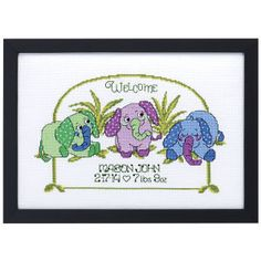 Baby Elephant Birth Record - Cross Stitch, Needlepoint, Embroidery Kits – Tools and Supplies