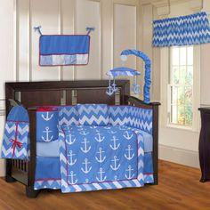 Babyfad Anchor Zigzag 10 Piece Crib Bedding Set #Babyfad