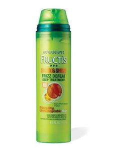 Ultra-smoothing and conditioning, this takes only three minutes.  Garnier Fructis Sleek & Shine Frizz Defeat Deep Treatment, $6