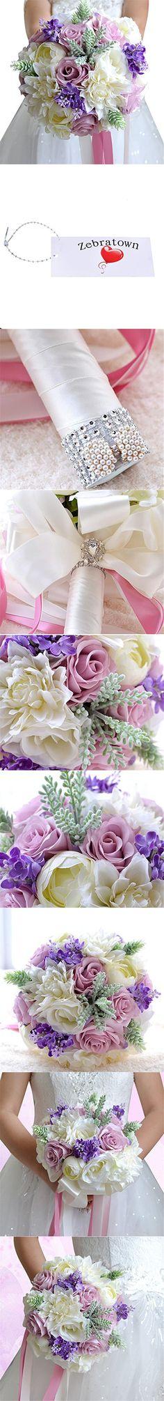 Zebratown 9'' Artificial Calla Lavender Flower Purple Rose Wedding Bouquet Party Home Decor (Purple)