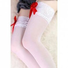 $3.77 Charming Cosplay Bow-Tie Lace Embellished White High Stocking For Women