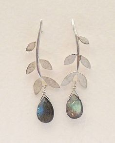 Sally Leaf Stud Labradorite Earrings