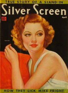 """Myrna Loy on the cover of """"Silver Screen"""" magazine, USA, April 1938."""