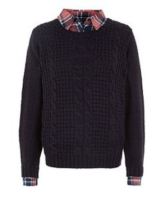 Teens Navy Cable Knit Check 2 In 1 Jumper | New Look