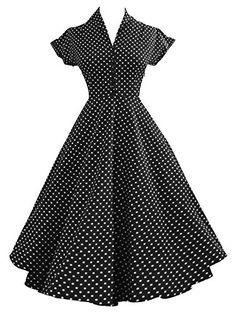 iLover Womens Classy Vintage 1940's Short Sleeves Rockabilly Swing Evening Dress
