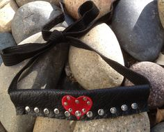 black leather studded with red heart CUFF bracelet by whackytacky, $29.99
