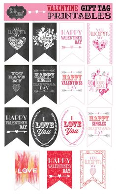Valentines Day Gift Tag Printables - SohoSonnet Creative Living #printables #valentinesday