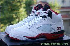 AIR JORDAN 5 RETRO Fire Vermelho 136027-120 Branco/Fire Vermelho-Preto marca de basquete