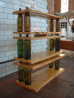 With some specially cut boards, it's possible to make a one-of-a-kind wine shelf.                   Image S...