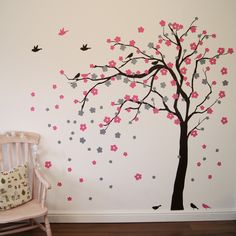 Floral Blossom Tree Wall Sticker - Children's Wall Stickers