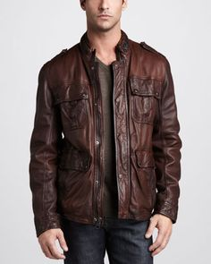 Warrant Waxed Leather Jacket by Andrew Marc at Neiman Marcus. for Ryan??