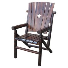 Indoor/outdoor Dining Chair With A Crack And Mold Resistant Char Log Finish  And Star Cutout Accent. Product: ChairConstruction Material: Log WoodColor:  ...