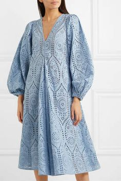 Find and compare Broderie anglaise cotton midi dress across the world's largest fashion stores! Modest Fashion, Hijab Fashion, Fashion Dresses, Mode Kimono, Casual Dresses, Summer Dresses, Eyelet Dress, Cotton Dresses, Designer Dresses