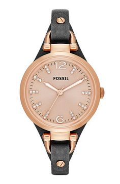 Fossil 'Georgia' Crystal Index Leather Strap Watch