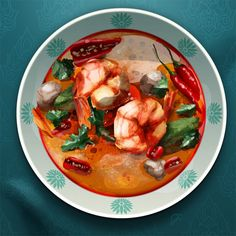 Tom Yum - Thai food - Food illustration