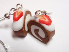 Chocolate roll with strawberry and cream - miniature food earrings by Plushable, via Flickr