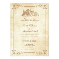 "Once upon a time right in the middle of an ordinary life, love gives us a fairytale.  Elegant fairytale castle wedding invitations with an ornate leaf border and a vintage parchment background.  Perfect for your storybook princess wedding!  Gold border and castle, also available in other color schemes.  Please contact pmcustomweddings@hotmail.com for custom colors.  Get the matching RSVP cards below:  <div style=""text-align:center;line-height:150%""> <a…"