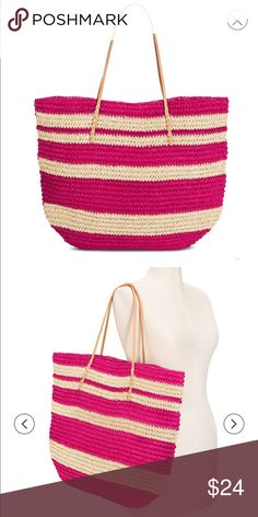 NWT Straw tote in various colors • Paper shell adds interesting texture  • Open closure makes it easy to load and unload • The spacious interior is large enough for all your essentials  • Shoulder handles make it easy to grab and go This Women's Straw Tote Handbag by Merona has a laidback style and super-spacious interior that make it perfect for a stylish trip to the beach or a tropical vacay. Shell Material: Paper Closure Style: Open Handle Type: Double Handle Dimensions: 16 inchesH x 20…