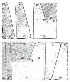 Budapesti Bazár 1877.: Pattern for skirts. These two pictures display rounded skirts' patterns from 60 and 90 cm wide fabrics. The length and width of each side can be cut after the given measurements.