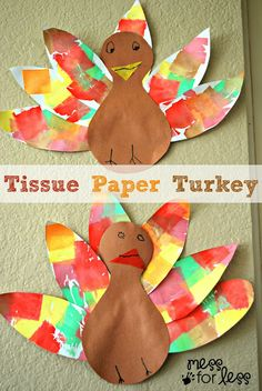 Tissue Paper Turkey Craft - tissue paper and water creates this colorful effect on the feathers. #ThisIsBing #sponsored