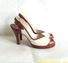 1940 vintage platform peep toe heels
