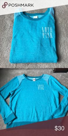 """""""PINK"""" sweatshirt This is a teal sweatshirt! Love pink on front. Plain on back! Excellent condition! PINK Victoria's Secret Tops Sweatshirts & Hoodies"""