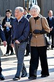 Emperor Akihito and Empress Michiko inspect a commercial complex 'Seapal Pier' on March 17 2016 in Onagawa Miyagi Japan The imperial couple visit...