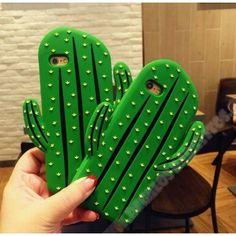 Carcasa divertida diseño verde 3D silicone catus para mi iPhone 7